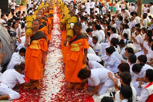 Buddhists monks walk, religion.