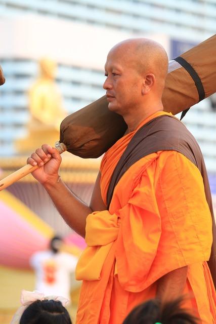 Buddhists orange robes, religion.