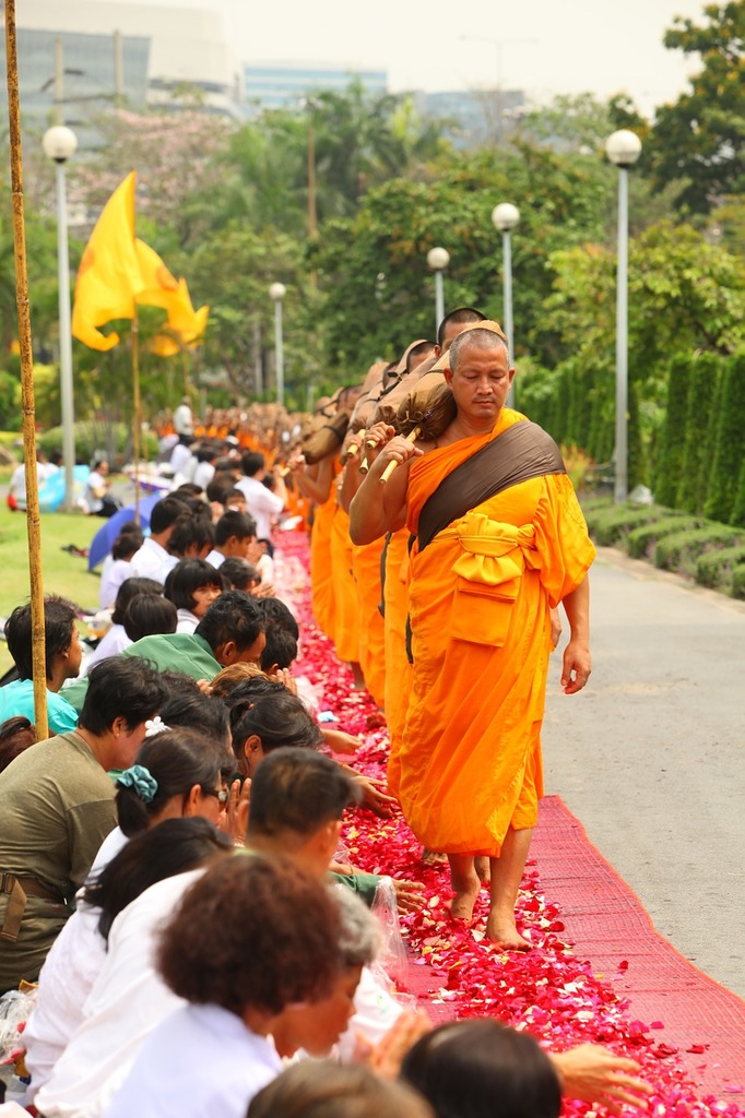 Buddhists robes monks, people.