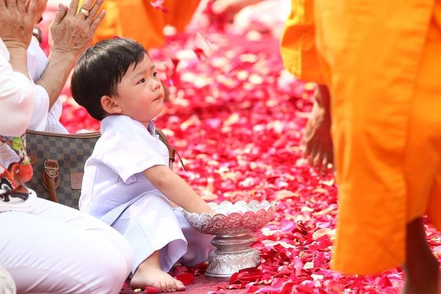Buddhists rose petals child, people.