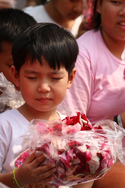 Buddhists rose petals children, religion.