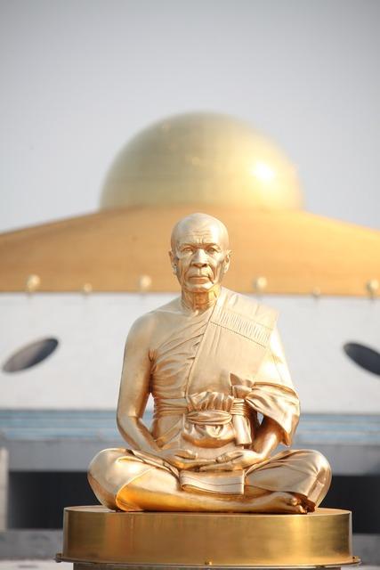 Budha monk gold, religion.