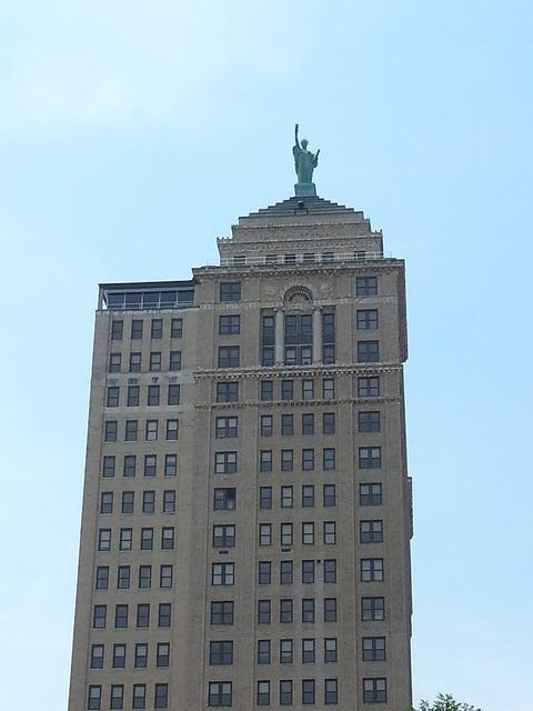 Buffalo new york cityscape, architecture buildings.