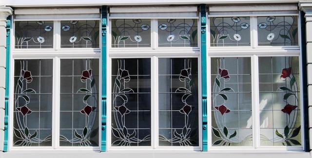 Building art nouveau window, architecture buildings.