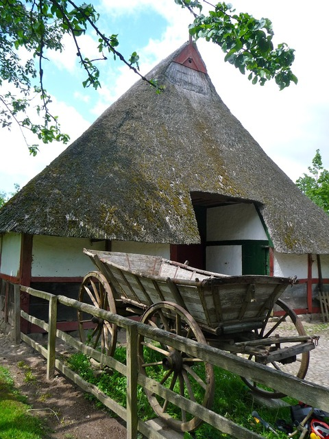 Building barn thatched, architecture buildings.