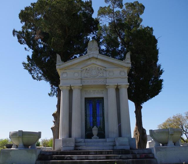 Building cemetery grave stones, architecture buildings.