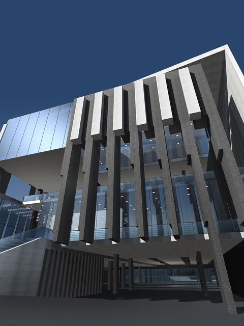 Building effect picture entrance, architecture buildings.