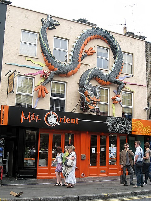 Building facade dragon, architecture buildings.