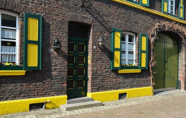Building facade yellow, architecture buildings.