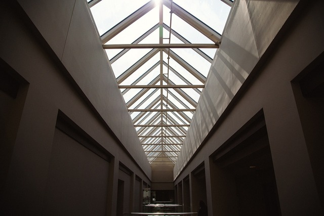 Building hallway skylight, architecture buildings.