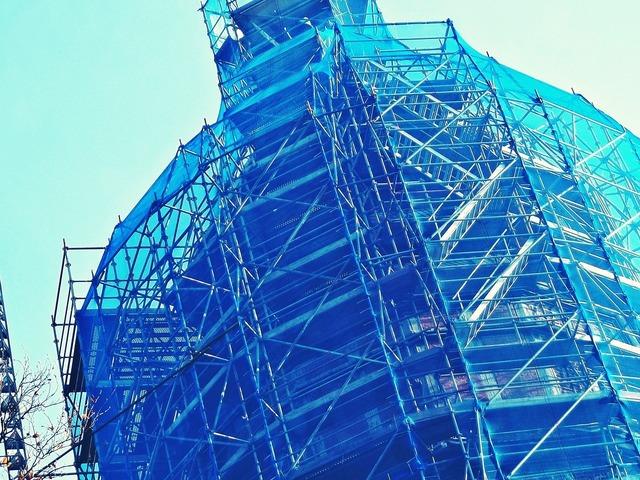Building scaffolding site, architecture buildings.