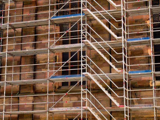 Building site scaffolding, architecture buildings.