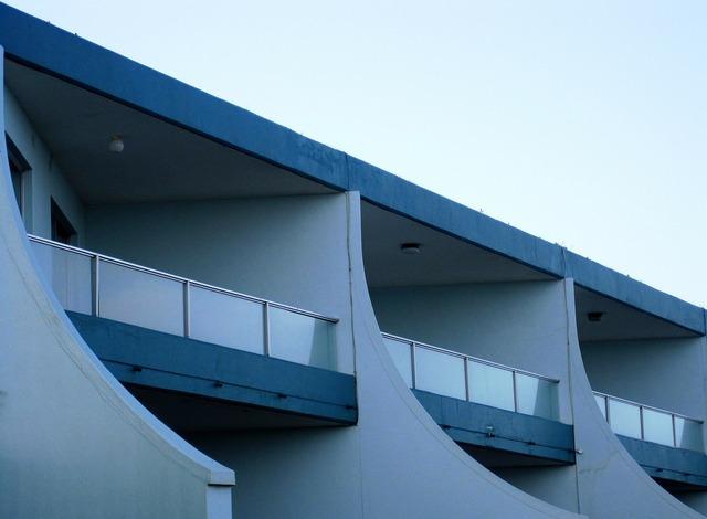 Building white blue, architecture buildings.