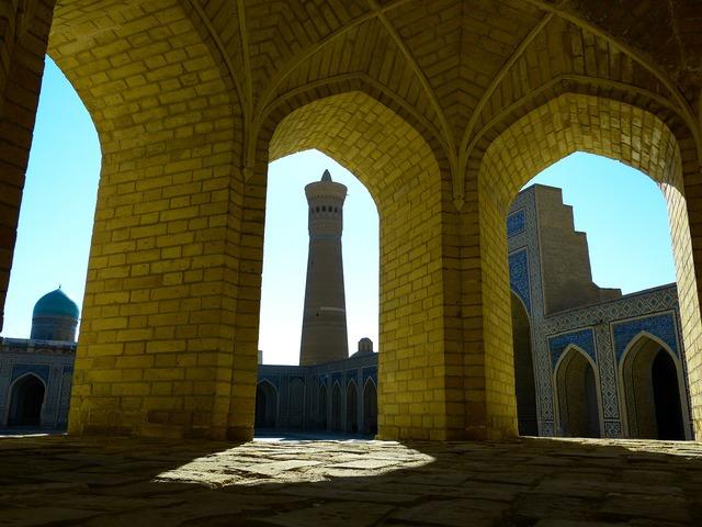 Bukhara mosque minaret, architecture buildings.
