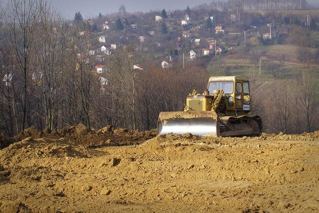 Bulldozer excavator construction machine, architecture buildings.