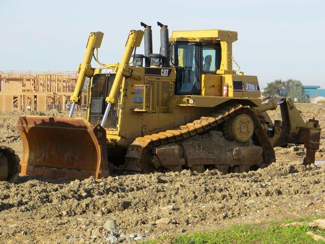 Bulldozer tractor machinery, transportation traffic.