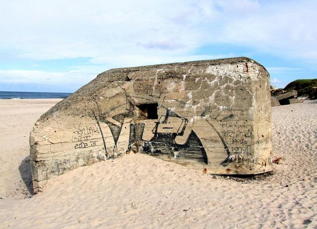 Bunker world war ii beach, travel vacation.