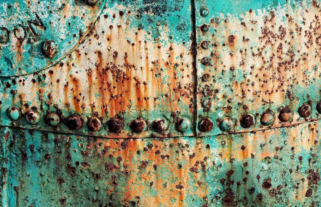 Buoy corroded rusty.