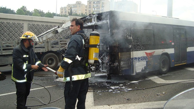 Bus accident fire, transportation traffic.