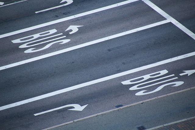 Bus asphalt road, transportation traffic.