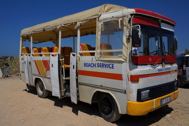 Bus beach service, travel vacation.