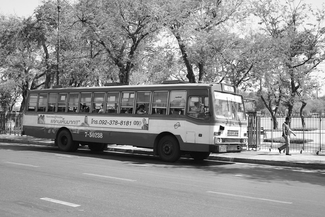 Bus black white, transportation traffic.