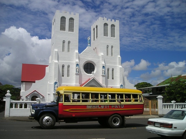 Bus church samoa, religion.
