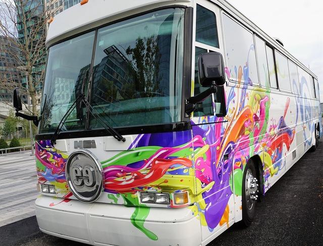 Bus colorful white, transportation traffic.