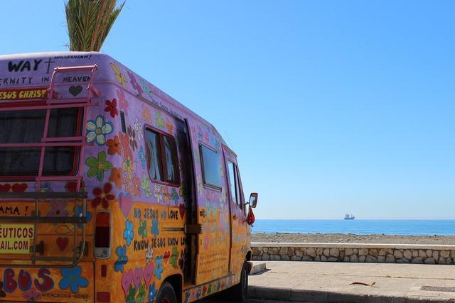 Bus hippie beach, travel vacation.