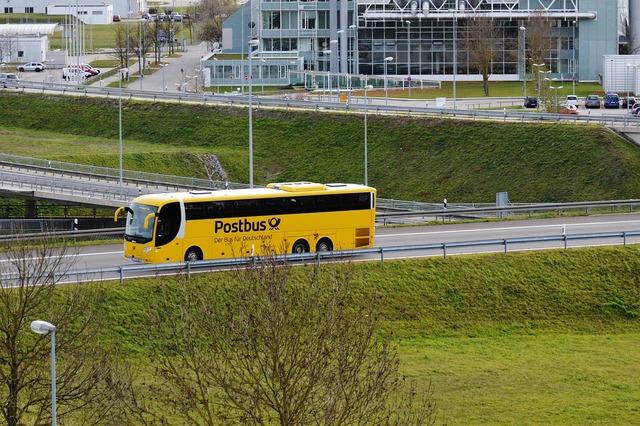 Bus yellow post, transportation traffic.