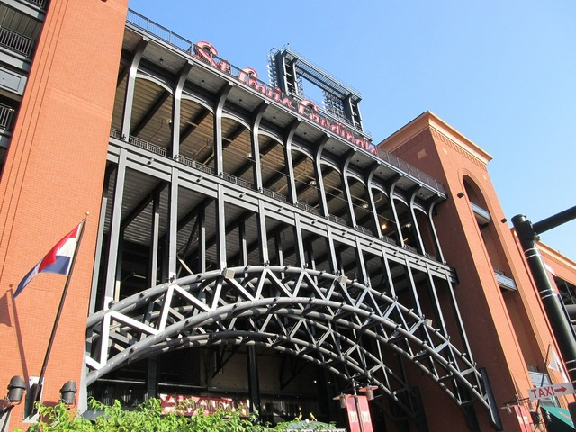 Busch stadium baseball ball park, sports.