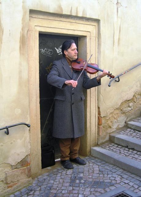Busker prague czech, music.