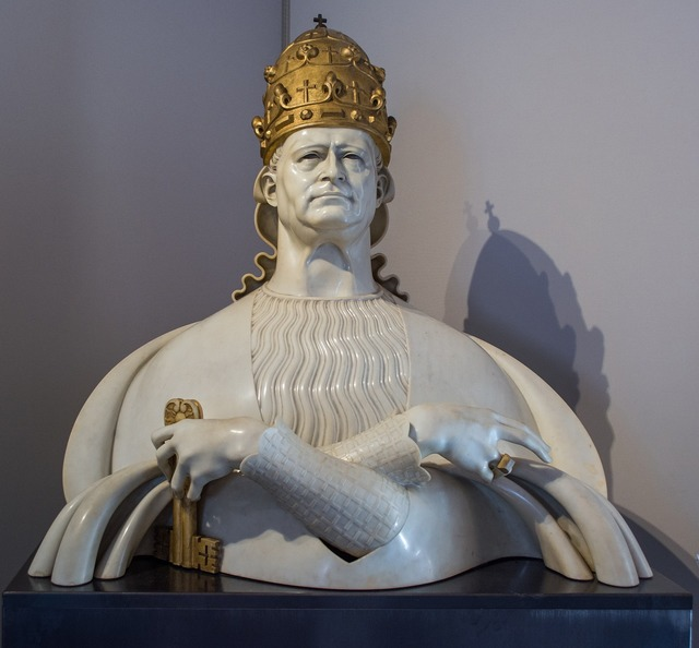 Bust pope crown.