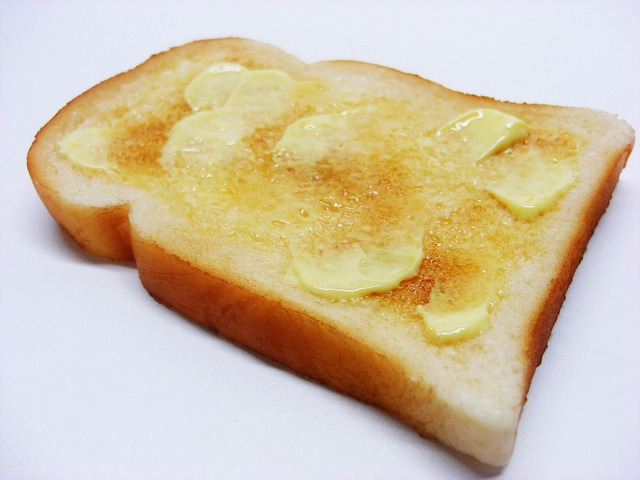 Buttered toast food, food drink.