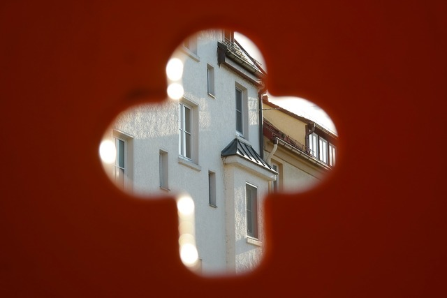 By looking cross opening, architecture buildings.