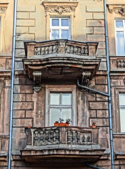 Bydgoszcz building balconies, architecture buildings.