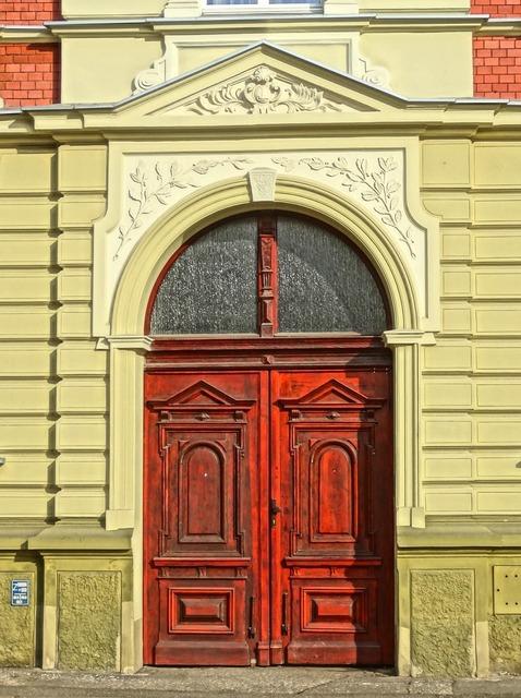 Bydgoszcz portal door, architecture buildings.