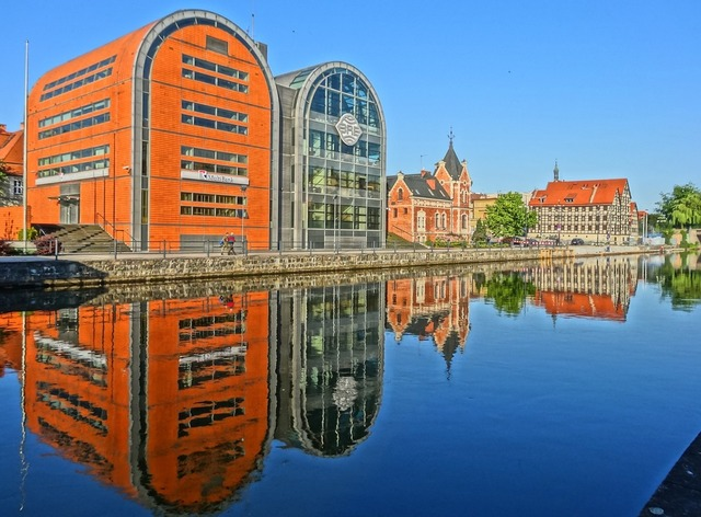 Bydgoszcz waterfront river, architecture buildings.