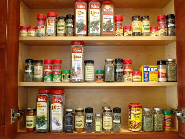 Cabinet spices orderly, food drink.