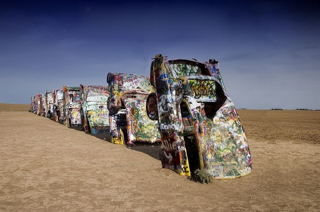Cadillac ranch amarillo famous, places monuments.