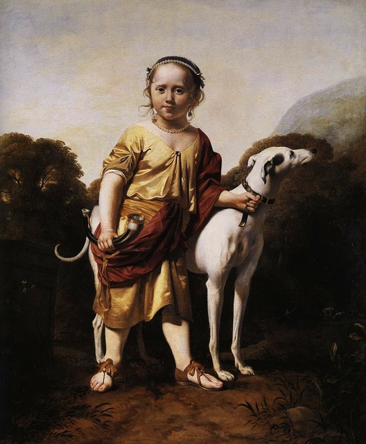 Caesar van everdingen boy dog, people.