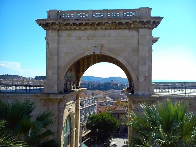 Cagliari arc building, architecture buildings.