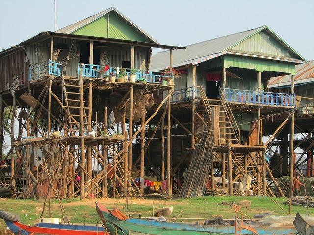Cambodia kampong pluk fishermen houses, architecture buildings.