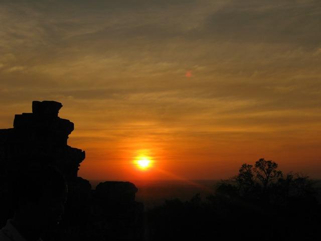 Cambodia sun sunset, travel vacation.