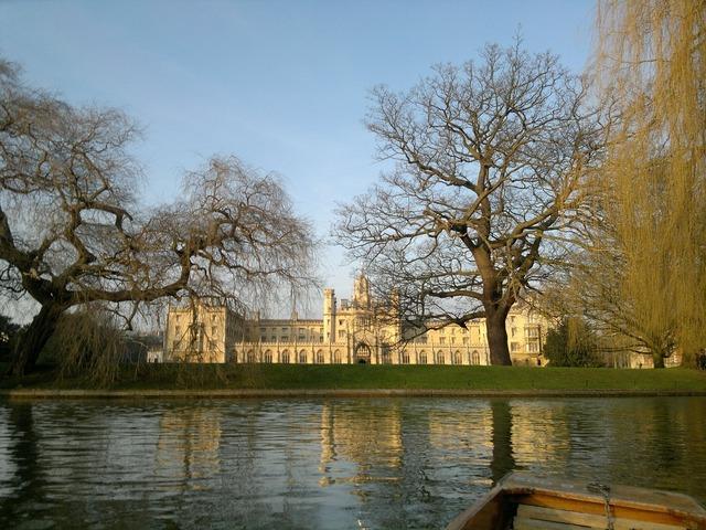 Cambridge old college, architecture buildings.