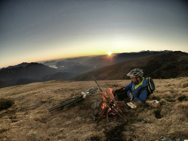 Camp fire camping cycling, travel vacation.