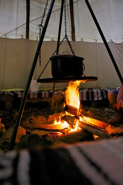 Campfire tent camping, travel vacation.