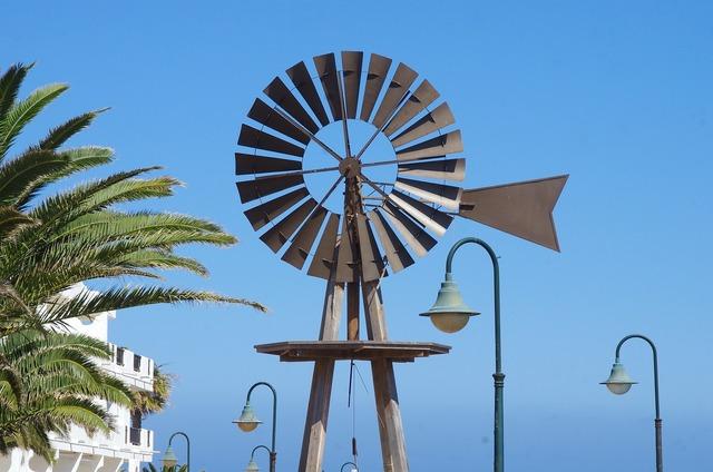 Canary lanzarote wind turbine, travel vacation.