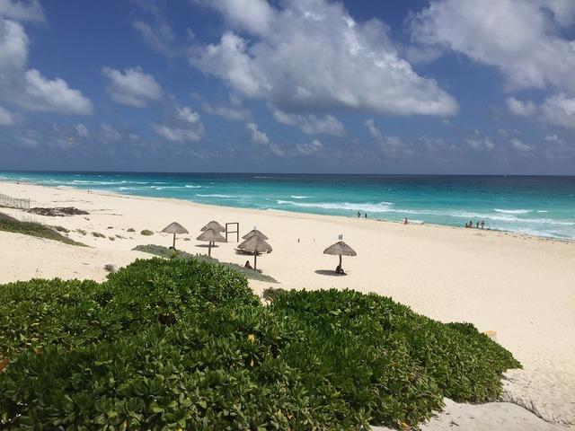 Cancun mexico beach, travel vacation.