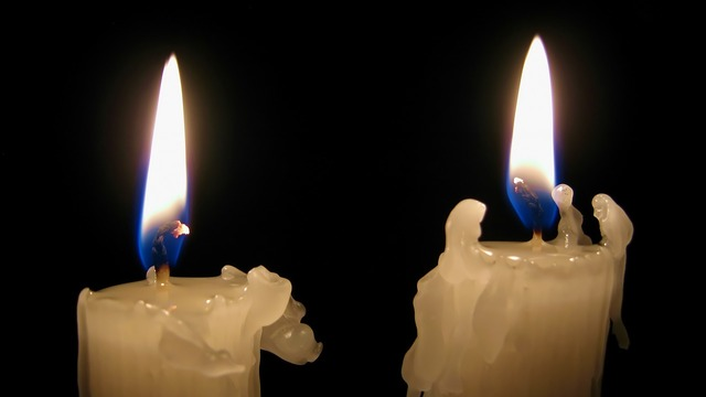 Candle light darkness.